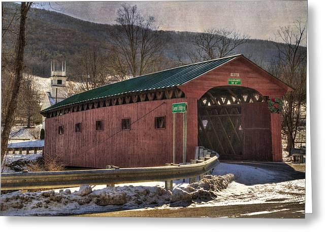 Winter Scenes Rural Scenes Greeting Cards - Covered Bridge - West Arlington Vt Greeting Card by Joann Vitali