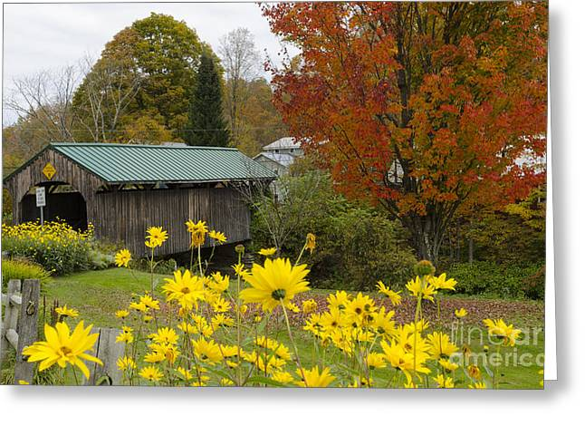 Covered Bridge Greeting Cards - Covered Bridge With Fall Foliage Greeting Card by Bill Bachmann