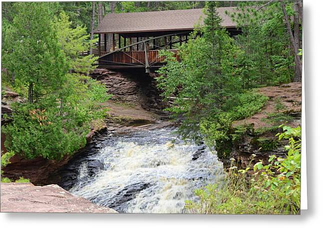 Covered Pyrography Greeting Cards - Covered Bridge with Waterfall Greeting Card by Tracy Folz