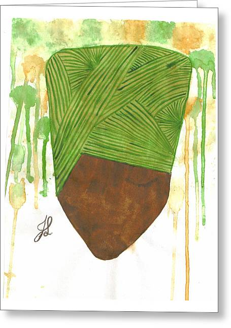 Covered Head Paintings Greeting Cards - Covered Girl 1 Greeting Card by Jennifer R Ghanem