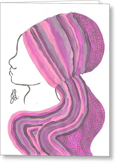 Covered Head Paintings Greeting Cards - Covered Girl 3 Greeting Card by Jennifer R Ghanem