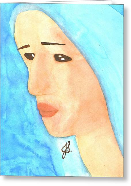Covered Head Paintings Greeting Cards - Covered Girl 6 Greeting Card by Jennifer R Ghanem