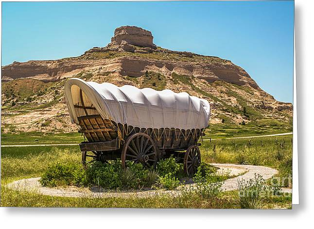 Sue Smith Greeting Cards - Covered Wagon at Scotts Bluff National Monument Greeting Card by Sue Smith