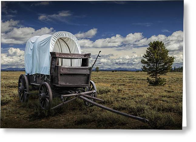 Schooner Art Greeting Cards - Covered Wagon in the Grand Tetons Greeting Card by Randall Nyhof