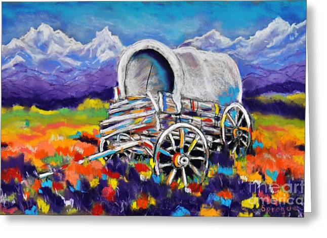 Wagon Pastels Greeting Cards - Covered Wagon Left Behind Greeting Card by Judy Sprague