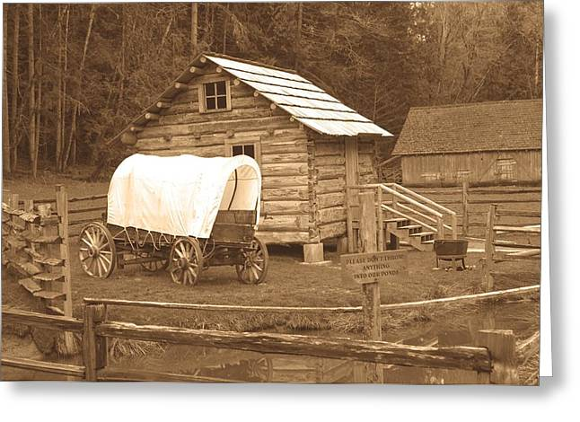 Old Western Photos Greeting Cards - Covered Wagon Old Photo Style Greeting Card by Roger Reeves  and Terrie Heslop