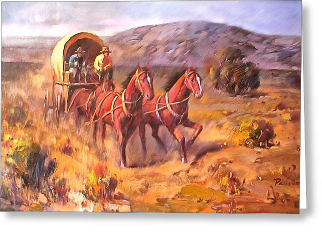 Working Cowboy Greeting Cards - Covered Wagon Greeting Card by Parsons
