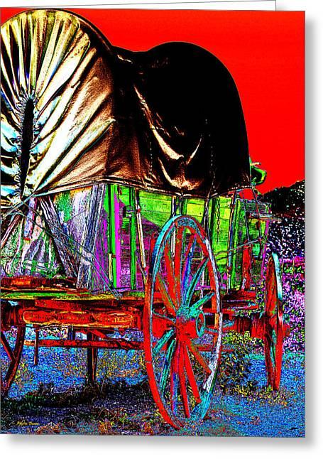 Horse-drawn Vehicle Digital Greeting Cards - Covered Wagon Pop Art Greeting Card by Phyllis Denton
