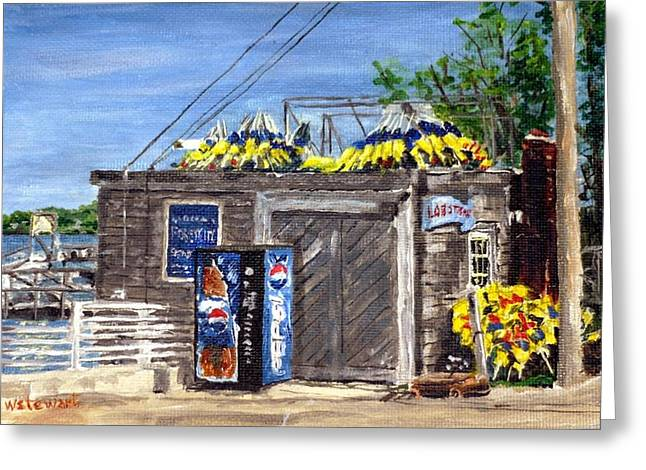 Lobster Shack Paintings Greeting Cards - Coveys Shack Greeting Card by Wilson Stewart