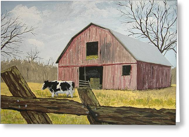 Haybale Greeting Cards - Cow and Barn Greeting Card by Norm Starks