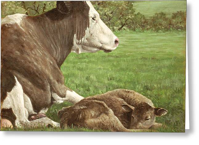Cattle Farming Greeting Cards - Cow And Calf In Field Greeting Card by Martin Davey