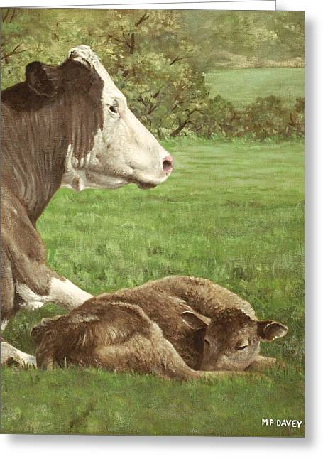 Cow And Calf In Field Greeting Card by Martin Davey