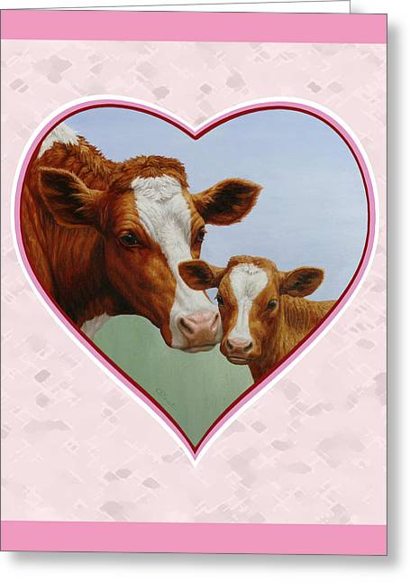 Cow Paintings Greeting Cards - Cow and Calf Pink Heart Greeting Card by Crista Forest
