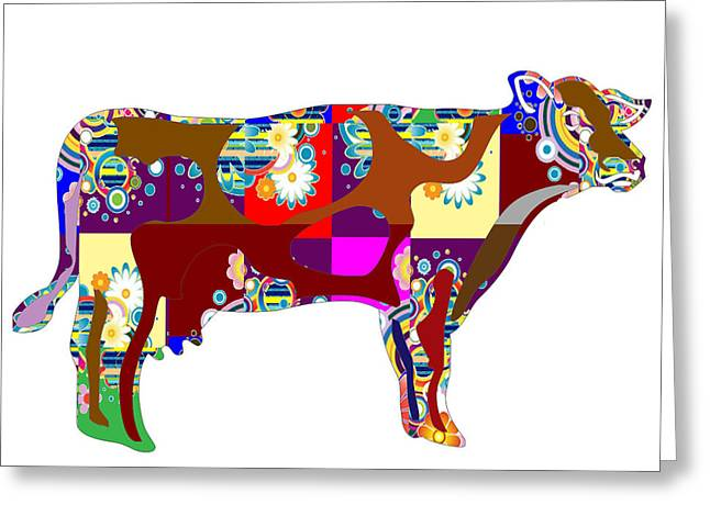 Marathon Champion Greeting Cards - Cow Animal Domestic Artistic Painted Patchwork  Art NavinJoshi  Rights Managed Images Graphic Design Greeting Card by Navin Joshi