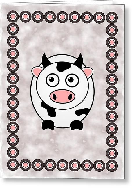 Cute Mixed Media Greeting Cards - Cow - Animals - Art for Kids Greeting Card by Anastasiya Malakhova