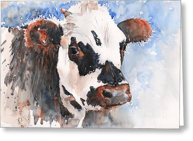 Hafner Greeting Cards - Cow Greeting Card by Claudia Hafner