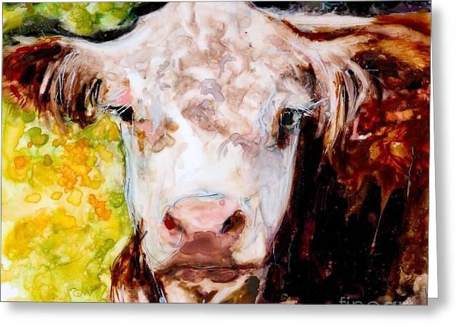 Hereford Greeting Cards - Cow Face Greeting Card by Molly Poole