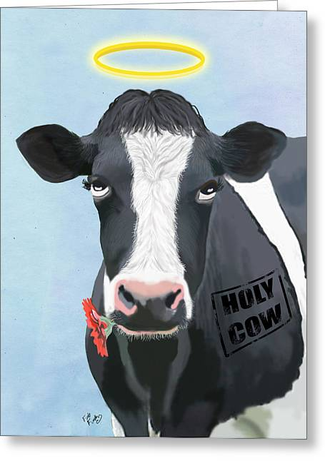 Cows Framed Prints Greeting Cards - Cow Holy Cow Greeting Card by Kelly McLaughlan