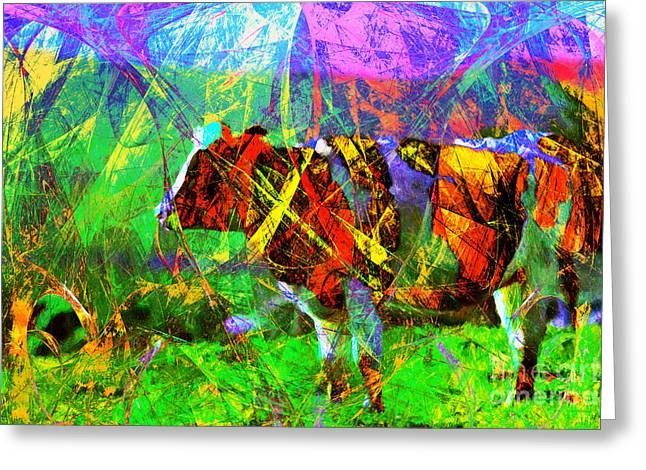 Backroads Digital Greeting Cards - Cow in Abstract 7D4316 Greeting Card by Wingsdomain Art and Photography