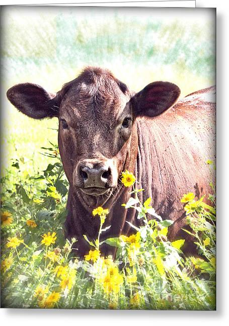 Moos Print Greeting Cards - Cow In Wildflowers Greeting Card by Ella Kaye Dickey