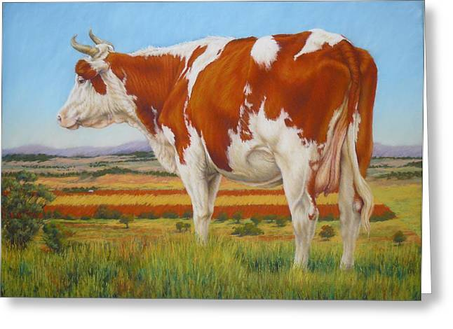 Margaret Stockdale Greeting Cards - Cow On The Lookout Greeting Card by Margaret Stockdale