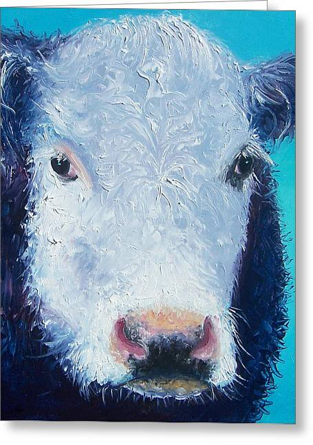 Butchers Decor Greeting Cards - Cow painting Camomile by Jan Matson Greeting Card by Jan Matson