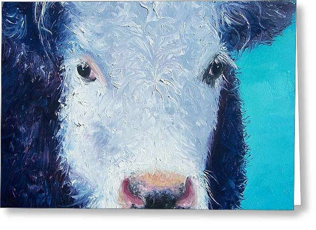 Country Cottage Greeting Cards - Cow painting Camomile by Jan Matson Greeting Card by Jan Matson