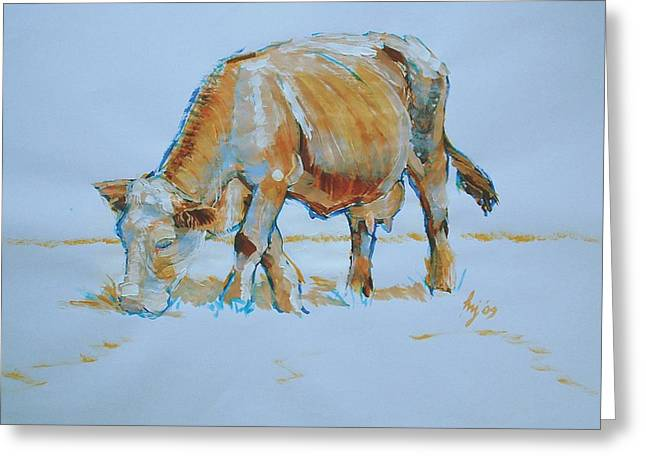 Quirky Drawings Greeting Cards - Cow Painting Greeting Card by Mike Jory