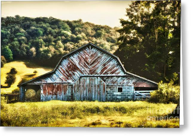 Surreal Barn Prints Greeting Cards - Cow Palace II - Blue Ridge Mountains Greeting Card by Dan Carmichael