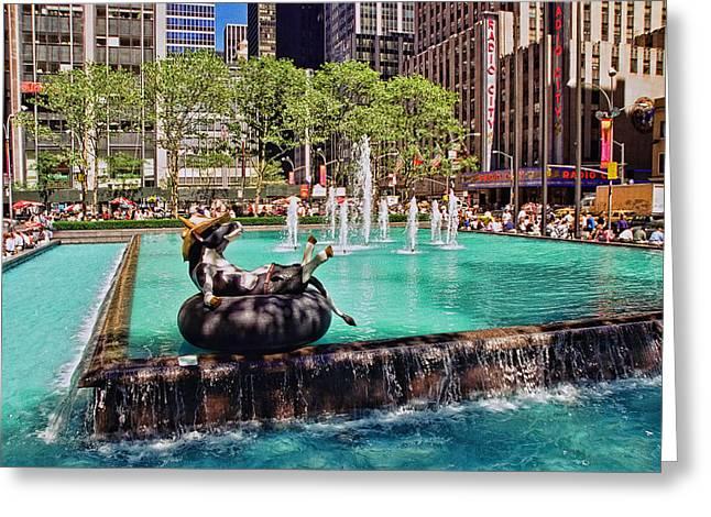 Fund Raiser Greeting Cards - Cow Parade N Y C 2000 - Fresca Cow Greeting Card by Allen Beatty