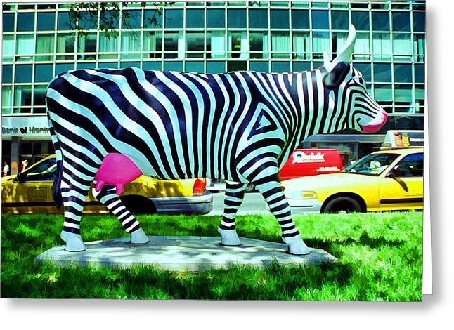 Fund Raiser Greeting Cards - Cow Parade N Y C 2000 - Zow  Cow Greeting Card by Allen Beatty