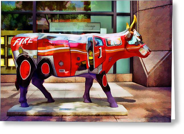 Fund Raiser Greeting Cards - Cow Parade N Y C 2000 - Four Alarm Cow Greeting Card by Allen Beatty