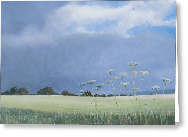 Field. Cloud Greeting Cards - Cow Parsley, 2012 Acrylic On Canvas Greeting Card by Lincoln Seligman