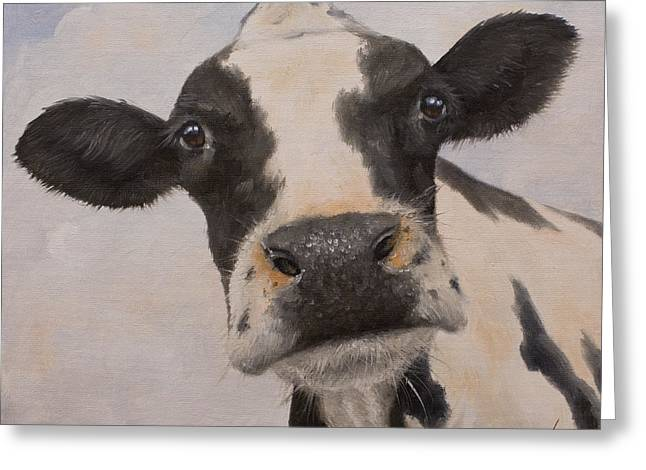 Dry Lake Paintings Greeting Cards - Cow Portrait I Greeting Card by John Silver