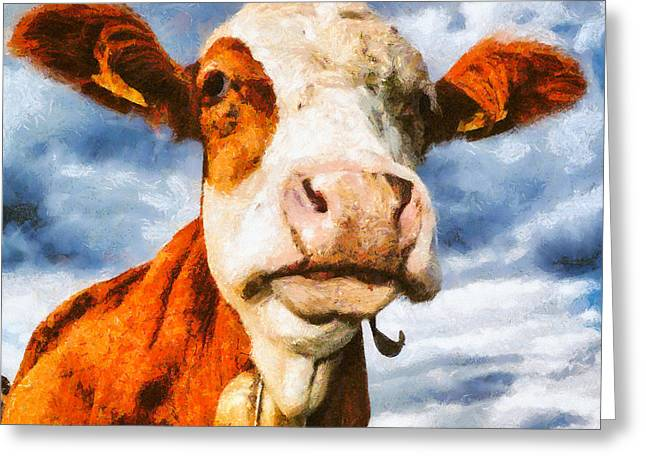 One Cow Greeting Cards - Cow portrait painting Greeting Card by Matthias Hauser