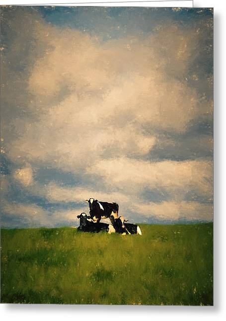 Pastoral Mixed Media Greeting Cards - Cow Pyramid Greeting Card by John K Woodruff