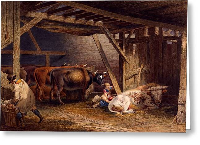 Farmer Drawings Greeting Cards - Cow Shed Greeting Card by Robert Hills