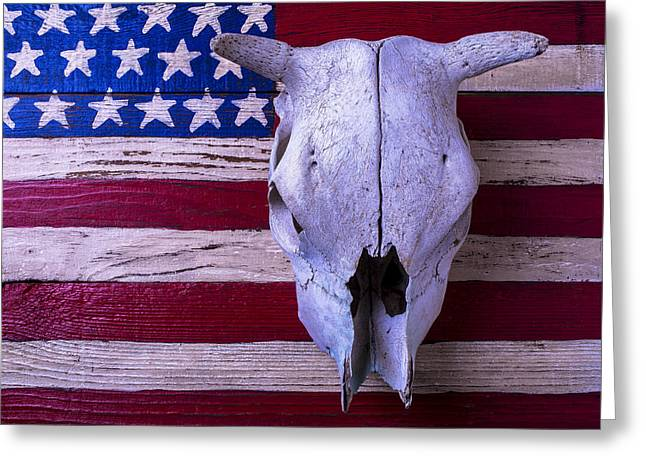American Folk Art Greeting Cards - Cow Skull On American Flag Greeting Card by Garry Gay