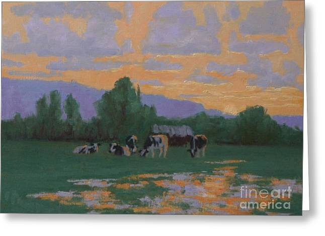 Rural Landscapes Pastels Greeting Cards - Cow Sunset Greeting Card by Doyle Shaw