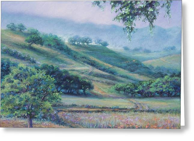 Mountain Valley Pastels Greeting Cards - Cow Trails Greeting Card by Denise Horne-Kaplan
