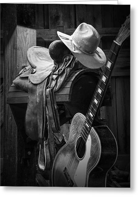 Country And Western Greeting Cards - Cowboy Acoustic Guitar Greeting Card by Randall Nyhof