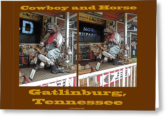 Gatlinburg Tennessee Greeting Cards - Cowboy and Horse Greeting Card by Marian Bell