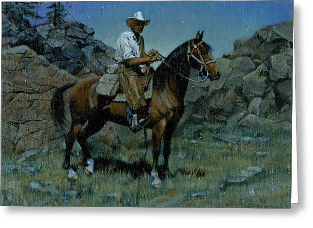 Night Scenes Greeting Cards - Cowboy Night Scene Greeting Card by Don  Langeneckert