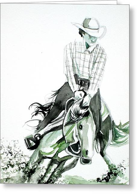 Wild Hat Art Greeting Cards - COWBOY at the RODEO Greeting Card by Fabrizio Cassetta