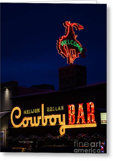 Westen Greeting Cards - Cowboy Bar Greeting Card by Wildlife Fine Art