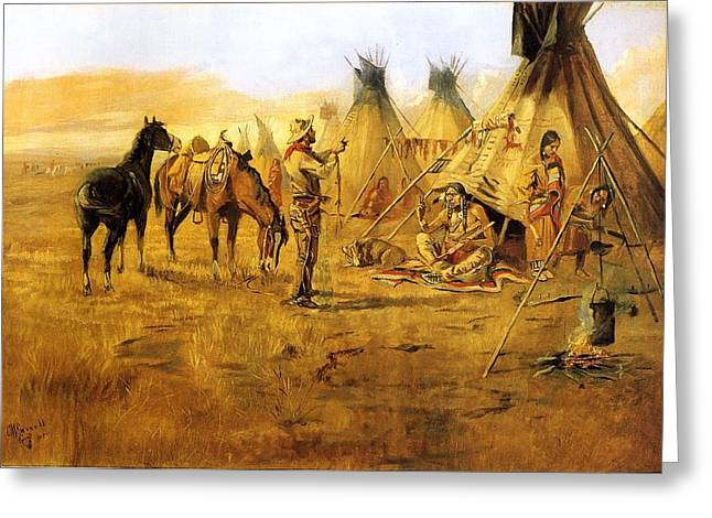 Cowboy Bargaining for the Indian Girl Greeting Card by Charles Russell