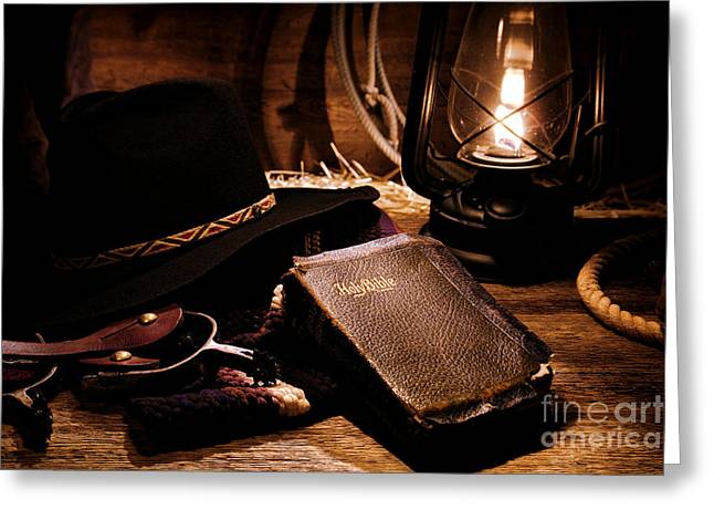 Worn Greeting Cards - Cowboy Bible Greeting Card by Olivier Le Queinec