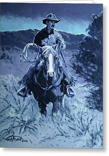 4 Corners Greeting Cards - Cowboy Blues Greeting Card by Randy Follis