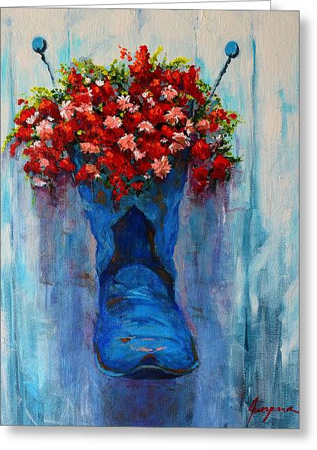 Gallery Wrap Paintings Greeting Cards - Cowboy Boot Unusual Pot Series  Greeting Card by Patricia Awapara