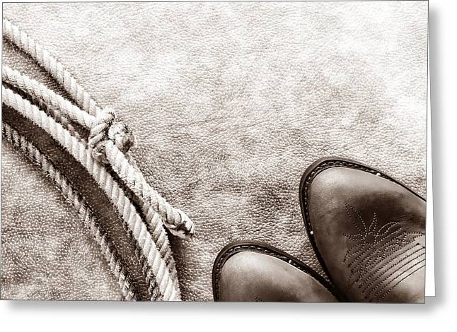 Noose Greeting Cards - Cowboy Boots and Lasso Greeting Card by American West Legend By Olivier Le Queinec